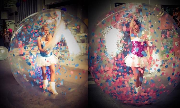 artiste en bulle de déambulation sur sol ou eau